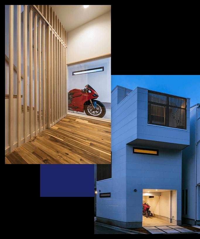 玄関からバイクが見れるビルトインガレージの狭小住宅
