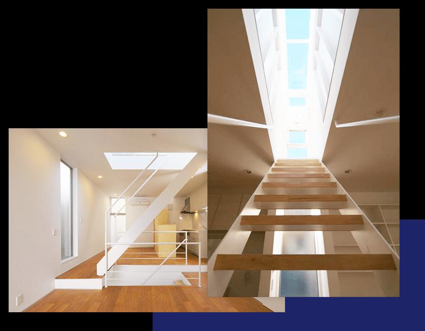 スケルトン階段で狭小住宅でも光が降りそそぐ