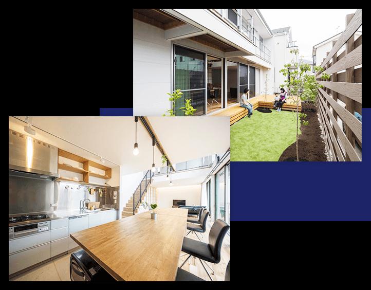 大きな中庭と繋がるリビングで快適な住宅