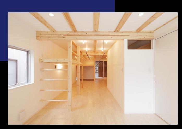 建具で簡易に間地切る程度の、南北に抜けるような空間構成