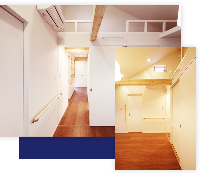 2世帯を接続するルーフテラスに通じるエレベーターホールは、唯一の共用空間です。