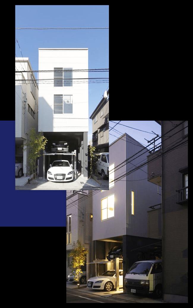 インナーガレージのある狭小住宅