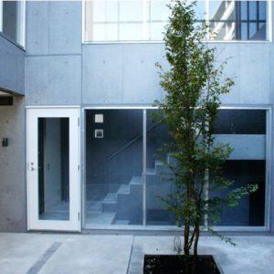シンボルツリーの中庭を介してつながる、RC造二世帯住宅